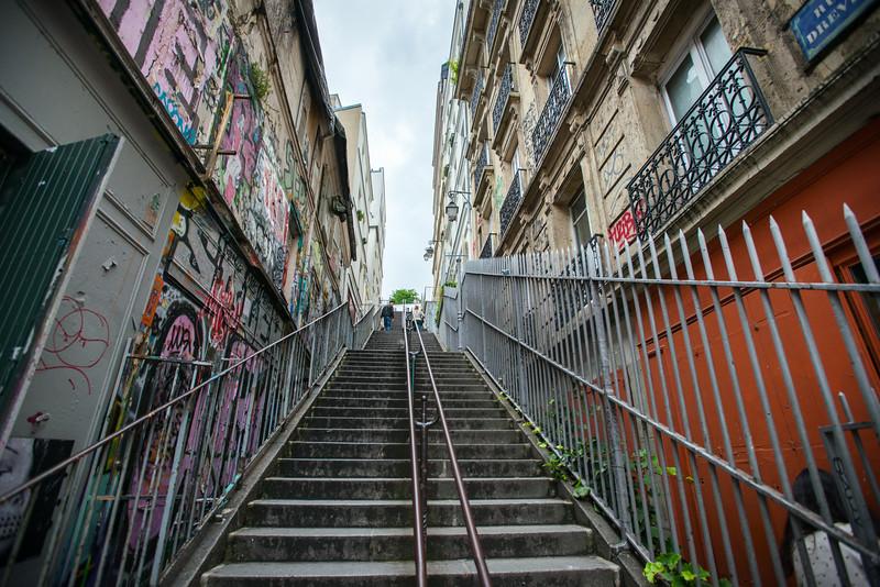 Graffiti along steps in Montmartre