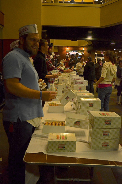Students gather in the Tucker Student Center to enjoy Midterm Munchies, Krispy Kreme Doughnuts with fellow students.