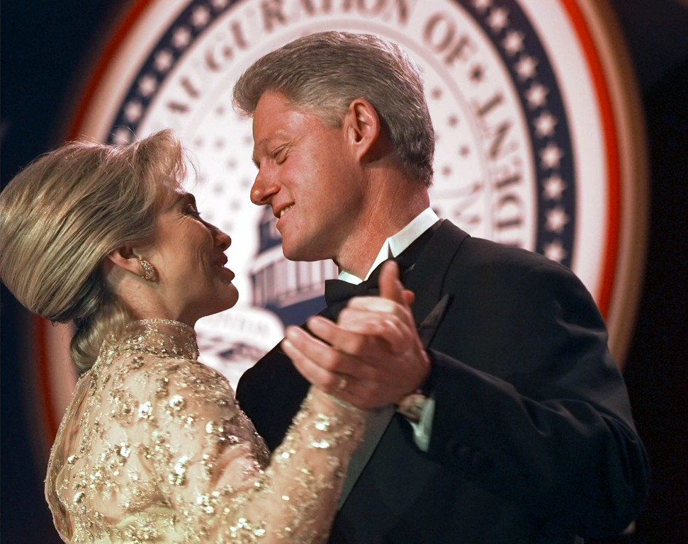 . President Clinton dances with his wife Hillary at the Veterans Ball Monday, Jan. 20, 1997, in Washington.  (AP Photo/Doug Mills)