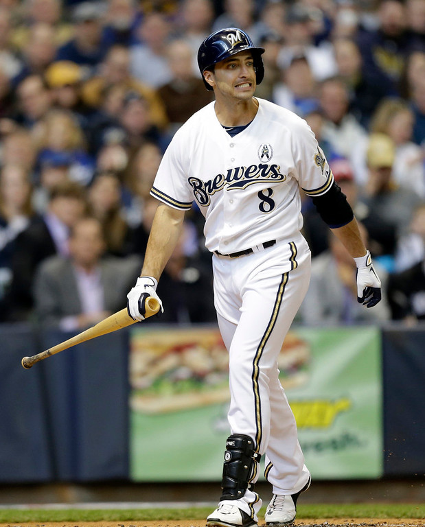 . Milwaukee Brewers\' Ryan Braun reacts after striking out against the Colorado Rockies in the first inning of an Opening Day baseball game  Monday, April 1, 2013, in Milwaukee. (AP Photo/Jeffrey Phelps)