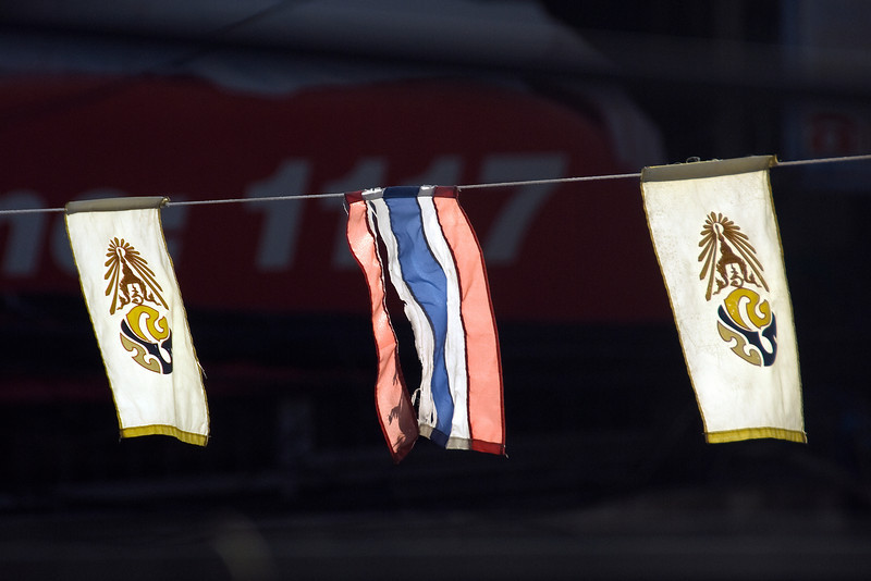 Small flags on wires at the 2010 Songkran Festival