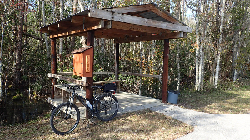 Bike parked in front of trail shelter