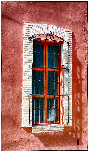 San Miguel Window with White Grid/Red Wall