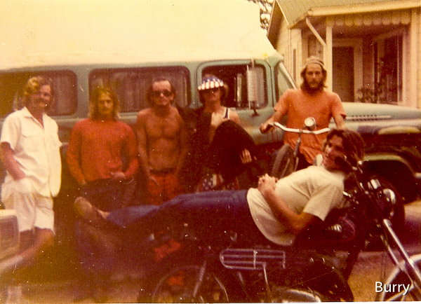 Leucadia 1970, L to R...Smitty, Sid Madden,The Buff, Loomis, Me on my bicycle, Rusty Fleetwood on my motorcycle!