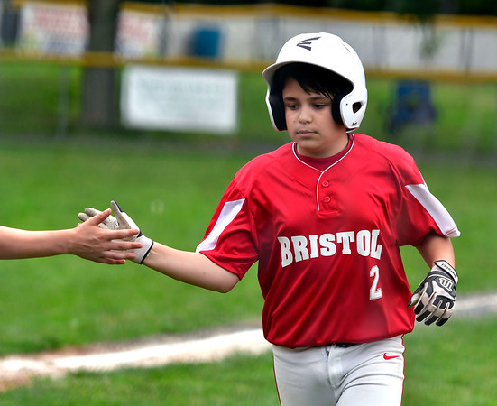 6/25/2019 Mike Orazzi | Staff Forestville's Aiden Smith (2) during Tuesday's baseball game with Wallingford in Bristol.