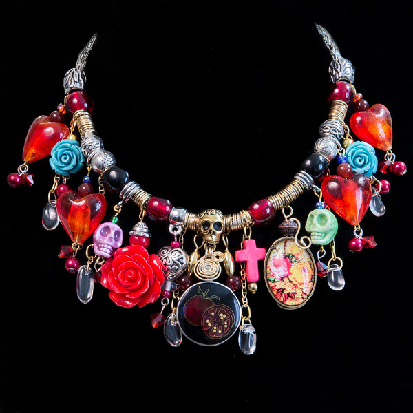 Frida Kahlo Inspired Mixed Metal Assemblage Choker Necklace