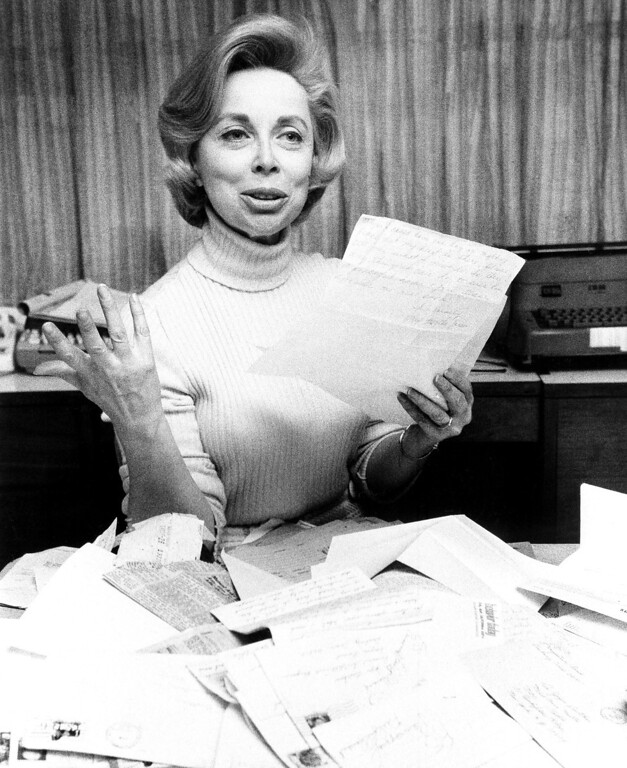 . Psychologist Dr. Joyce Brothers displays flood of mail she received in wake of incident in which she saved the life of a Long Island housewife, who called during Dr. Brothers\' radio program and threatened suicide on Jan. 8, 1971. Dr. Brothers held the woman on the phone until the call could be traced. (AP Photo/Marty Lederhandler )