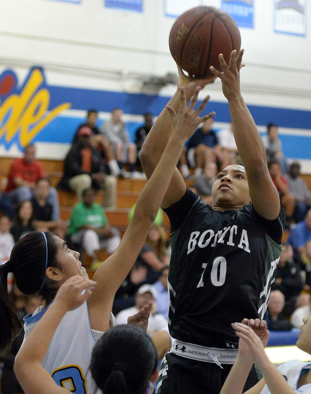 . Bonita\'s Nikki Wheatley (C) (10) shoots against Walnut in the first half of a prep basketball game at Walnut High School in Walnut, Calif., on Wednesday, Jan. 15, 2014. Bonita won 60-50. (Keith Birmingham Pasadena Star-News)