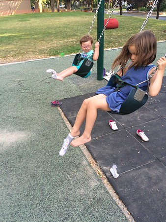Taking the shoes off at the swing, one by one is harder than you think..