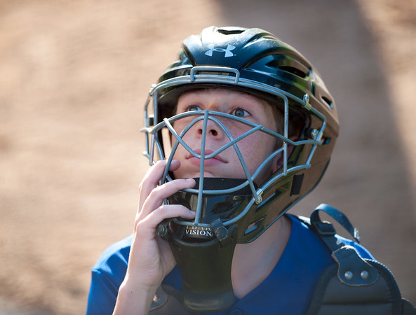 08/23/18 Wesley Bunnell | Staff The Forestville Pirates vs the Edgewood Cubs in the Bristol Little League City Series on Thursday evening at Frazier Field. Cubs catcher Connor Cyr (7) follows a foul ball out of play.
