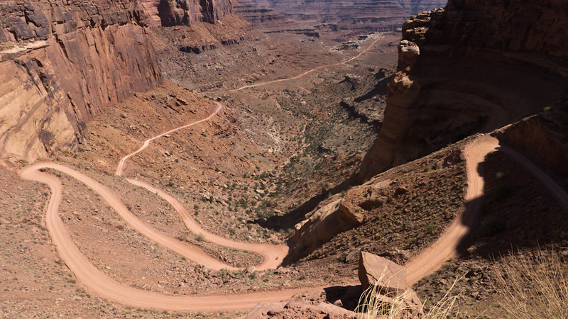 Shafer Trail Almost to the summit. With an average 9-10% grade for almost 3 miles, it takes a while to get up here.