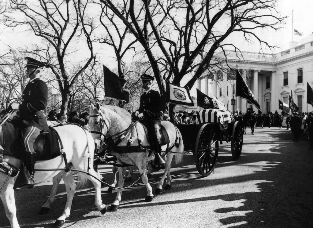 . Kennedy\'s casket leaves the White House. National Archive/Newsmakers