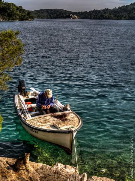 Fisherman in Mljet National Park, Adriatic Sea