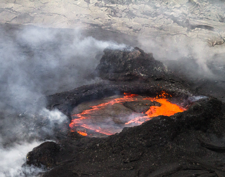 """Lava erupting from spatter cones within Pu""""u O""""o Vent - USA - Hawaii"""