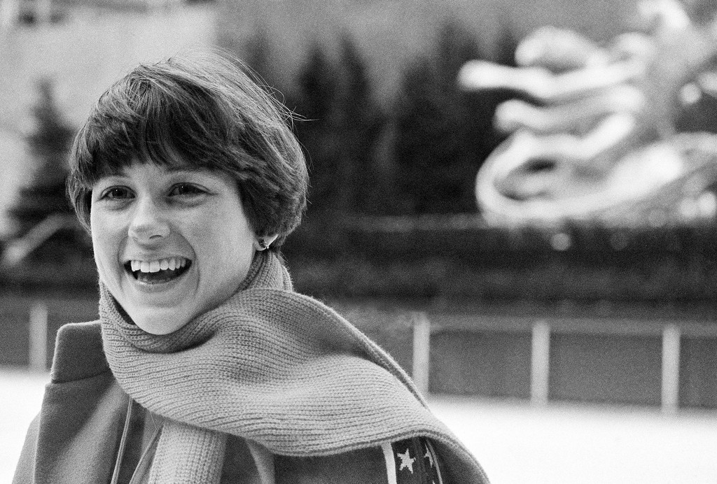 . World and national freestyle skating champion Dorothy Hamill is shown in Rockefeller Center ice skating rink in New York, Jan. 23, 1976. (AP Photo/Ron Frehm)