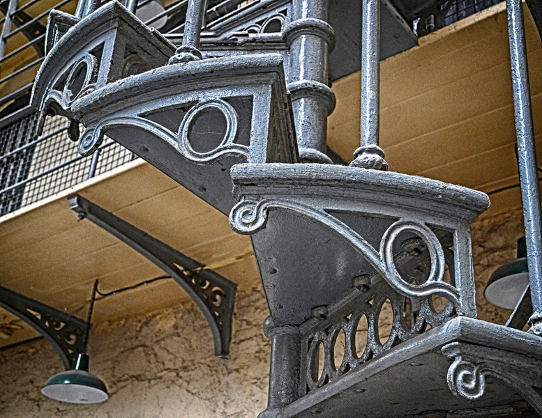 Cast iron spiral stairs in the Victorian part of the prison