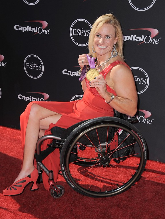 . Paralympist Muffy Davis arrives at the ESPY Awards on Wednesday, July 17, 2013, at Nokia Theater in Los Angeles. (Photo by Jordan Strauss/Invision/AP)