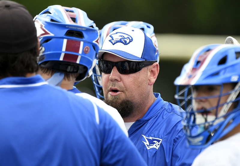 6/2/2018 Mike Orazzi | Staff St. Paul boys lacrosse coach Chris Kennedy  during the Class S Quarterfinal lacrosse match with St. Joseph in Bristol Saturday.