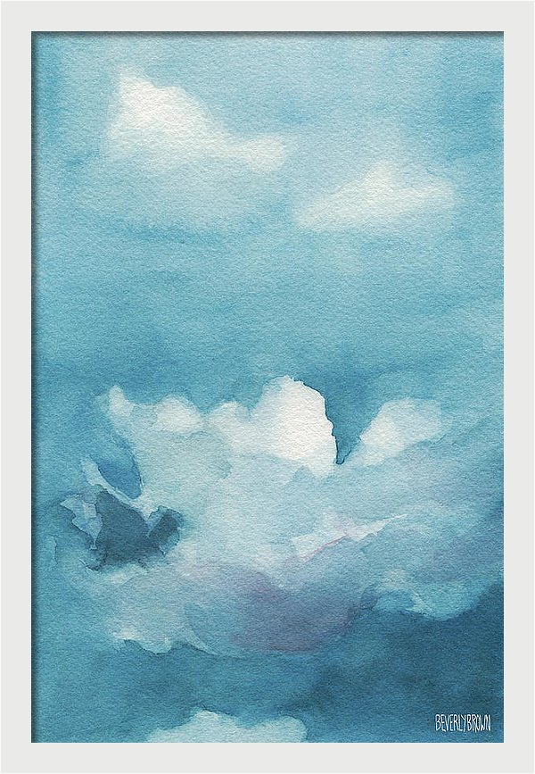 Blue and White Clouds Painting Framed Print by Beverly Brown