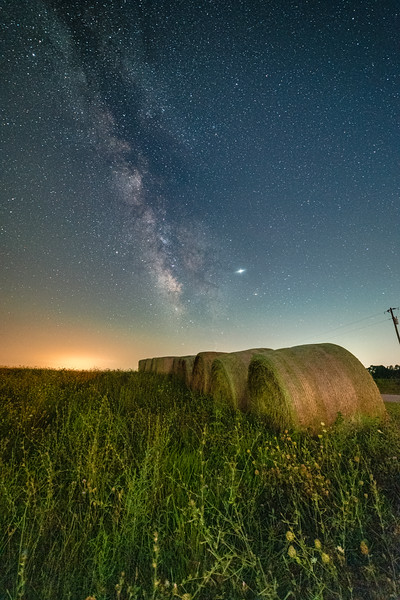 Baled hay under the stars #2