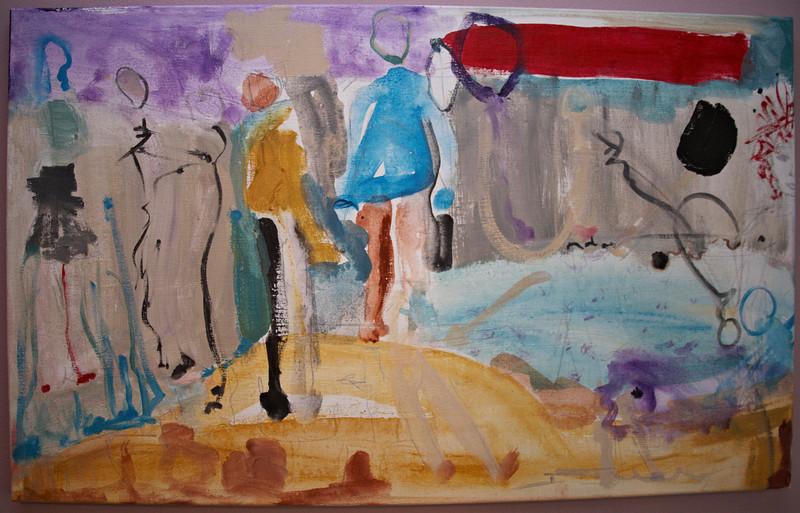 """2011, 22"""" x 36"""". On The Beach, Acrylic on canvas."""
