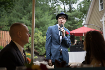 Dinner Toast- Carla Lomangino & Kyle Murray New Endland Wedding Photographer- East Longmeadow Back Yard Ceremony