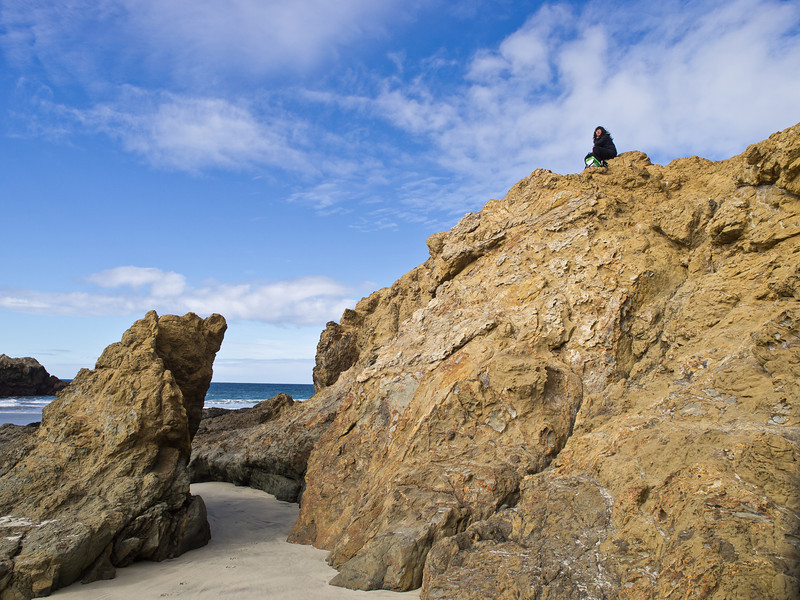 Mary on her own rock, surveying Pfeiffer Beach.