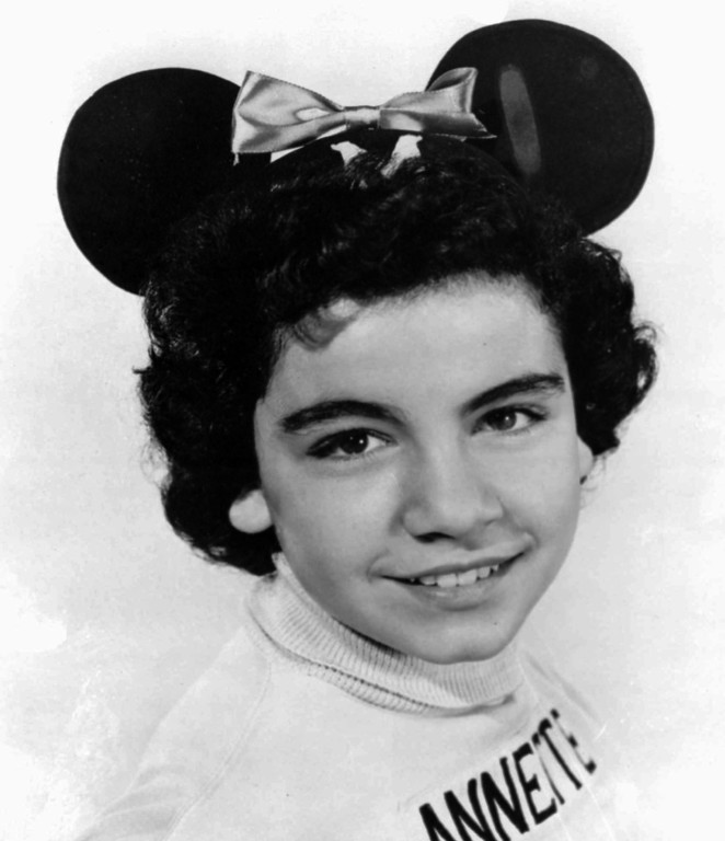 """. FILE - A 1955 file photo of Annette Funicello, a \""""Mouseketeer\"""" on Walt Disney\'s TV series the \""""Mickey Mouse Club.\""""  Funicello: The original superstar Mouseketeer, she was the picture of wholesome adorableness during the show\'s primary run in the 1950s, and she\'s maintained that sunny persona throughout her life.  She went on to star in several Disney pictures, including \""""The Shaggy Dog\"""" and \""""Babes in Toyland.\"""" But she most famously appeared alongside Frankie Avalon in all those beach movies of the early 1960s, along with recording several top-40 pop singles.  (AP Photo/ho, File)"""