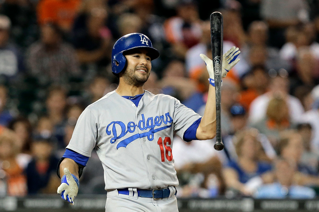 . Los Angeles Dodgers\' Andre Eithier reacts to striking out against the Detroit Tigers in the eighth inning of a baseball game in Detroit, Tuesday, July 8, 2014. (AP Photo/Paul Sancya)