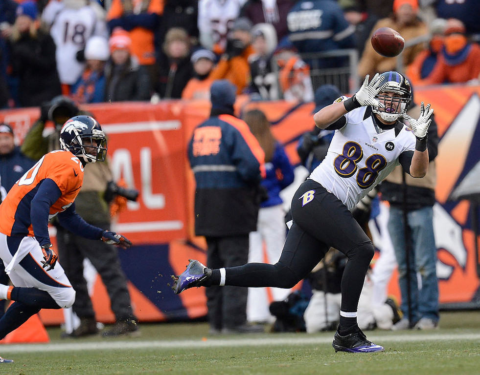 . Baltimore Ravens tight end Dennis Pitta (88) catches a pass for 15 yards at the end of the second quarter. The Denver Broncos vs Baltimore Ravens AFC Divisional playoff game at Sports Authority Field Saturday January 12, 2013. (Photo by Joe Amon,/The Denver Post)