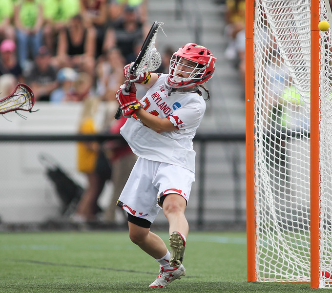 May 26, 2019: Maryland goalie Megan Taylor (34) makes a save during NCAA Womens Lacrosse Championship matchup between Boston College and University of Maryland in Baltimore. Photos by Chris Thompkins/Prince Georges Sentinel