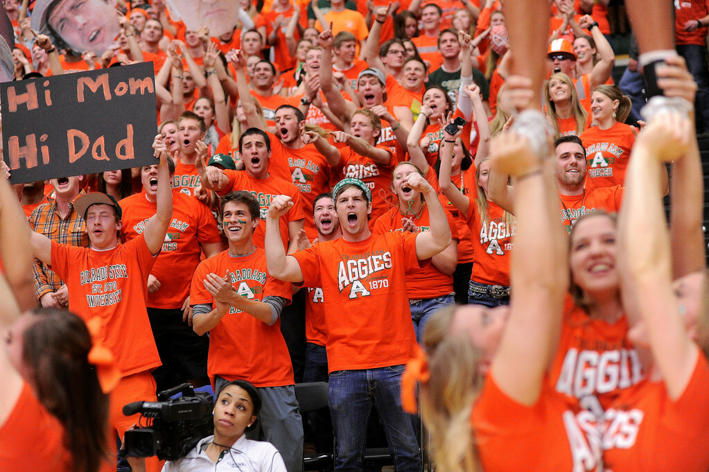 . FT. COLLINS, CO. - FEBRUARY 13: Rams fans painted Moby Arena in Aggies Orange for the game against the Aztecs. Colorado State hosted San Diego State February 13, 2013 at Moby Arena in Fort Collins. (Photo By Karl Gehring/The Denver Post)
