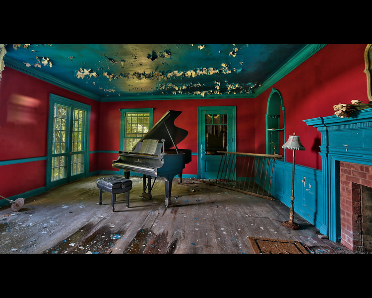 Abandoned Mansion Piano Room Full Frame
