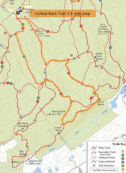 Raven Rocks loop trail (~3.5 miles).
