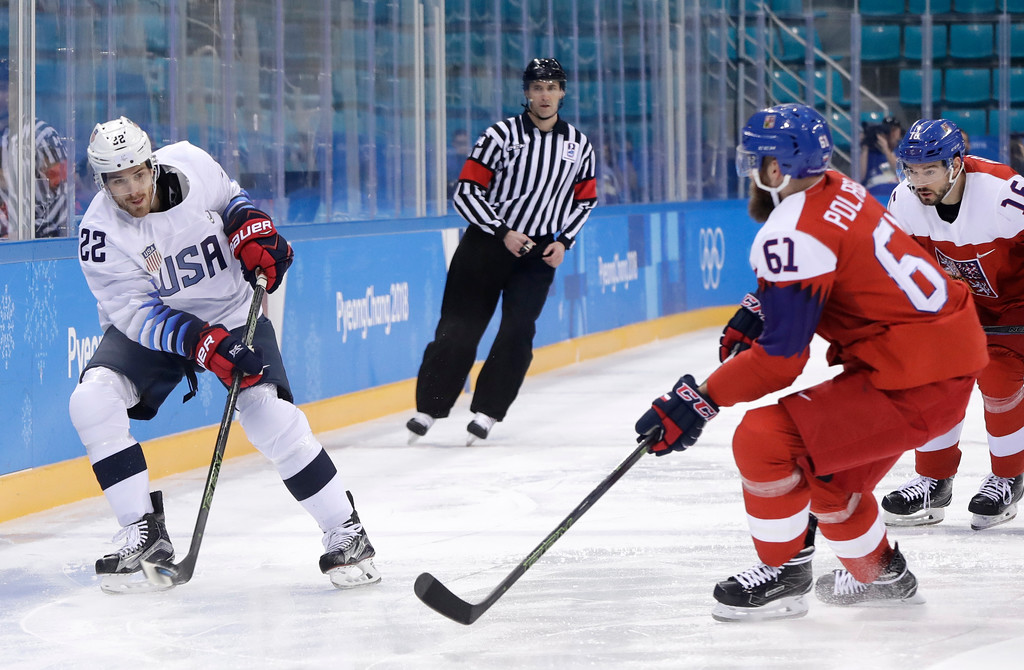 . Bobby Sanguinetti (22), of the United States, passes the puck past Michal Repik (62), of the Czech Republic, during the first period of the quarterfinal round of the men\'s hockey game at the 2018 Winter Olympics in Gangneung, South Korea, Wednesday, Feb. 21, 2018. (AP Photo/Matt Slocum)