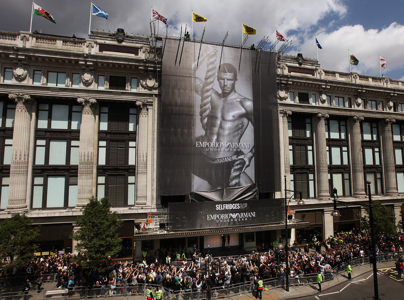 . A giant poster of David Beckham advertising Armani underwear is unveiled on the side of Selfridges department store on June 11, 2009 in London, England. The poster is the latest in  a series of high-profile adverts in which David Beckham has modeled for Emporio Armani underwear.  (Photo by Oli Scarff/Getty Images)