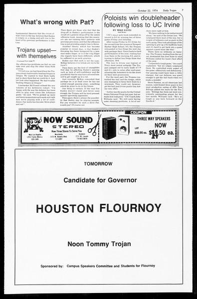 Daily Trojan, Vol. 67, No. 26, October 22, 1974