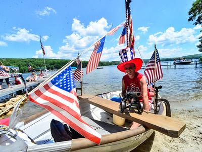 Spontaneous boat gathering on Spofford Lake - 070420