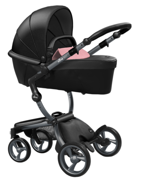 Mima_Xari_Product_Shot_Black_Flair_Graphite_Chassis_Pixel_Pink_Carrycot.png