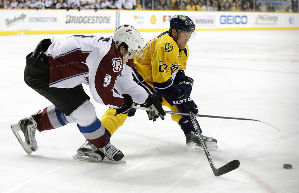 . Colorado Avalanche center Matt Duchene (9) and Nashville Predators right wing Patric Hornqvist (27), of Sweden, vie for the puck in the third period of an NHL hockey game Tuesday, April 2, 2013, in Nashville, Tenn. (AP Photo/Mark Humphrey)