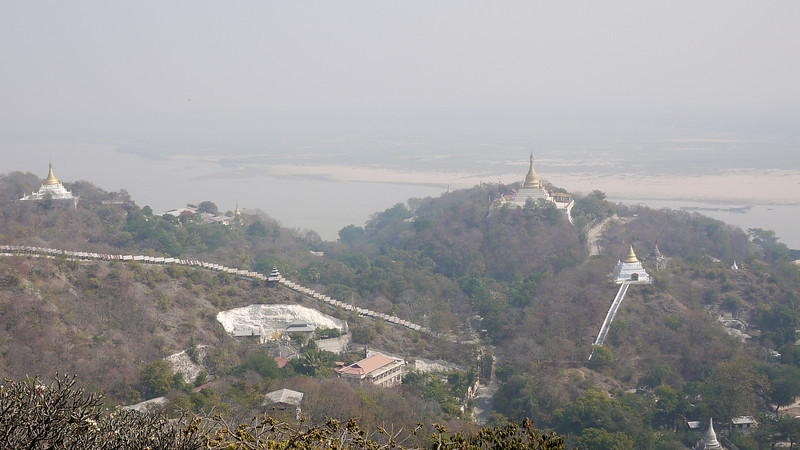 Views of the Irrawaddy River from the top of Minguin temple, a short day trip from Mandalay, Burma.