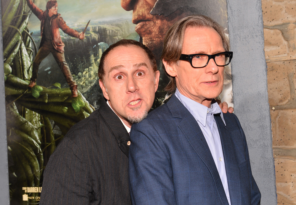 ". Actors John Kassir (L) and Bill Nighy attends the premiere of New Line Cinema\'s ""Jack The Giant Slayer\"" at TCL Chinese Theatre on February 26, 2013 in Hollywood, California.  (Photo by Alberto E. Rodriguez/Getty Images)"