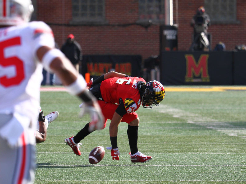 Maryland WR #6 Jeshaun Jones fumbles the ball