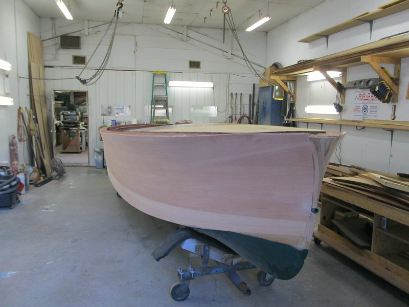 Starboard front view of the hull right side up.