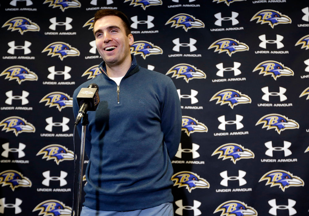 Description of . Baltimore Ravens quarterback Joe Flacco speaks at a news conference at the team's practice facility in Owings Mills, Md., Monday, March 4, 2013. Flacco agreed to a contract that will make him the richest quarterback in NFL history after leading the Ravens to a Super Bowl XLVII victory over the San Francisco 49ers. (AP Photo/Patrick Semansky)
