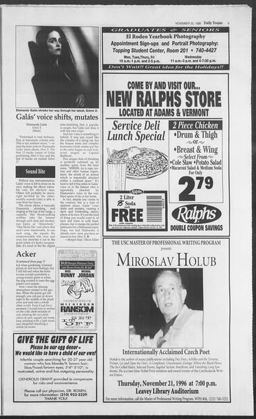 Daily Trojan, Vol. 129, No. 58, November 20, 1996