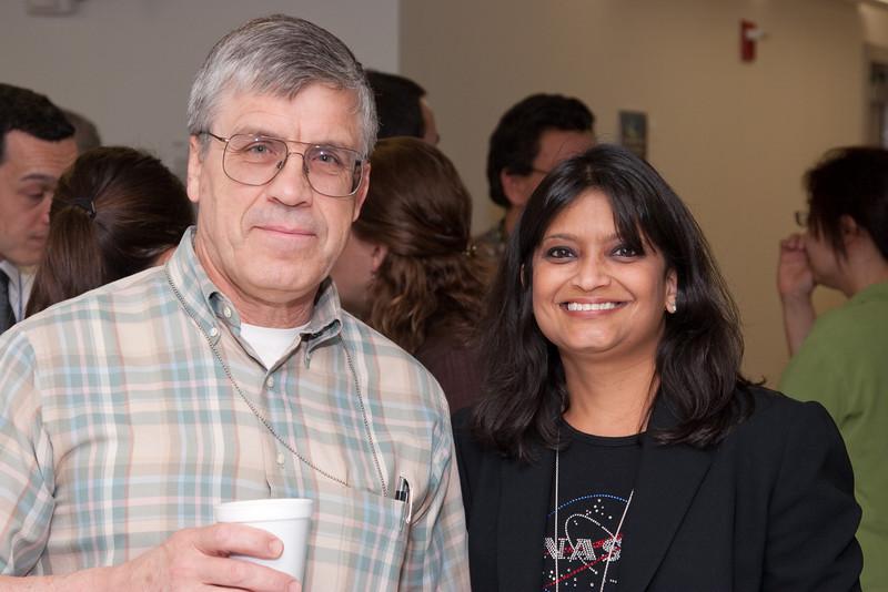 Tuck Stebbins and Raksha Kapil -- March 2011 new staff welcome coffee, Astrophysics Science Division, NASA/ Goddard Space Flight Center