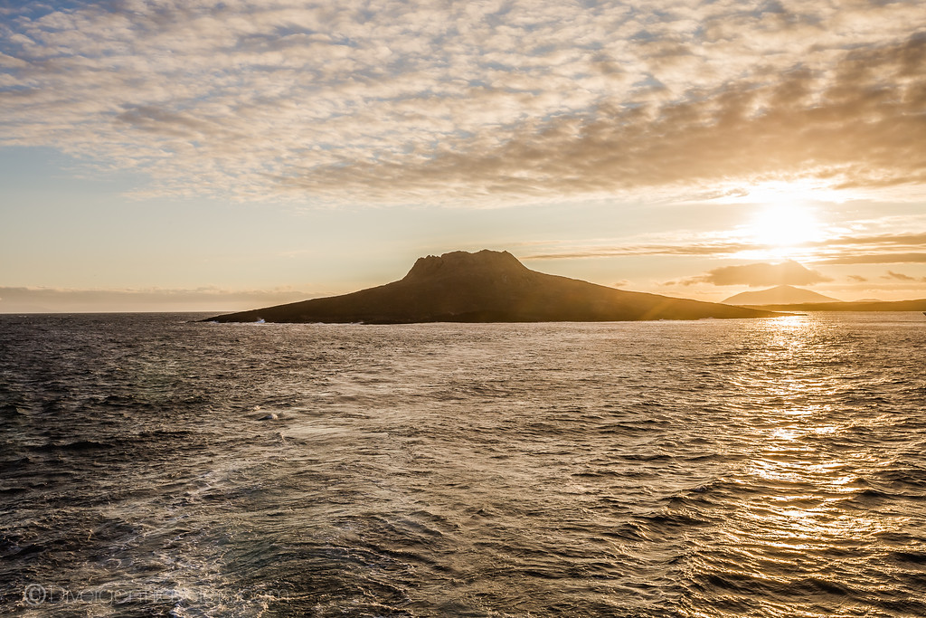 Sunset over China hat in the Galapagos Islands