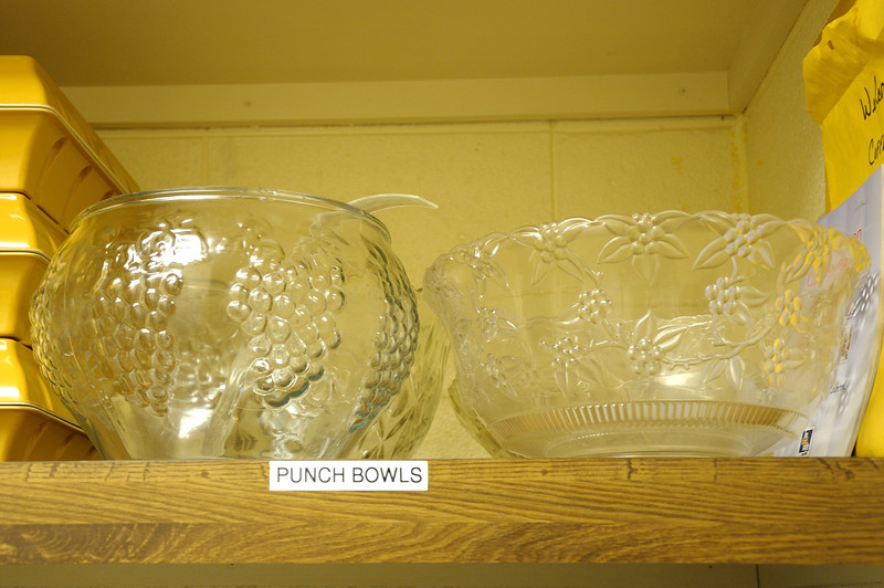 Closeup of punch bowls.