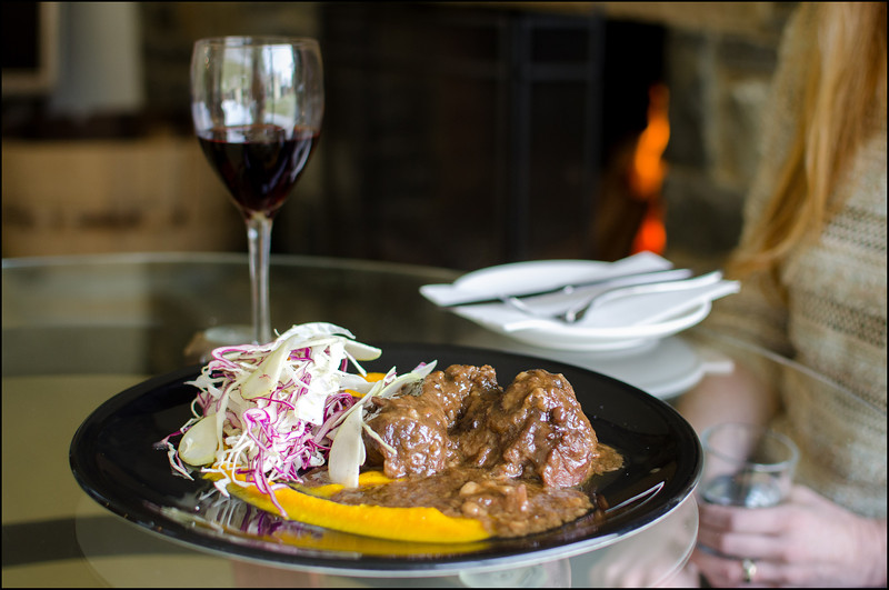 Pinot braised beef cheek with roast pumpkin puree, and an apple and fennel slaw - $20